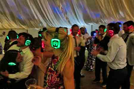 Silent disco in a marquee